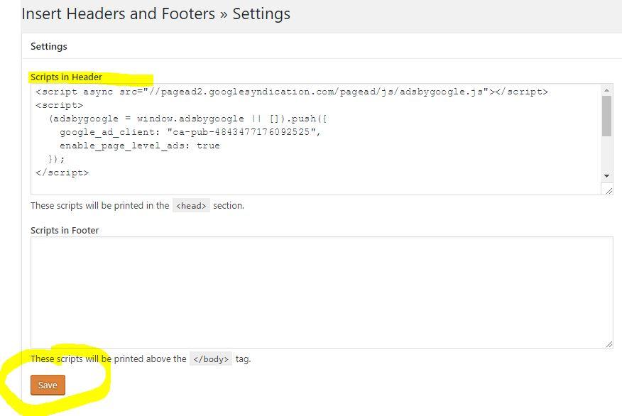 Insert adsense code to Wordpree header