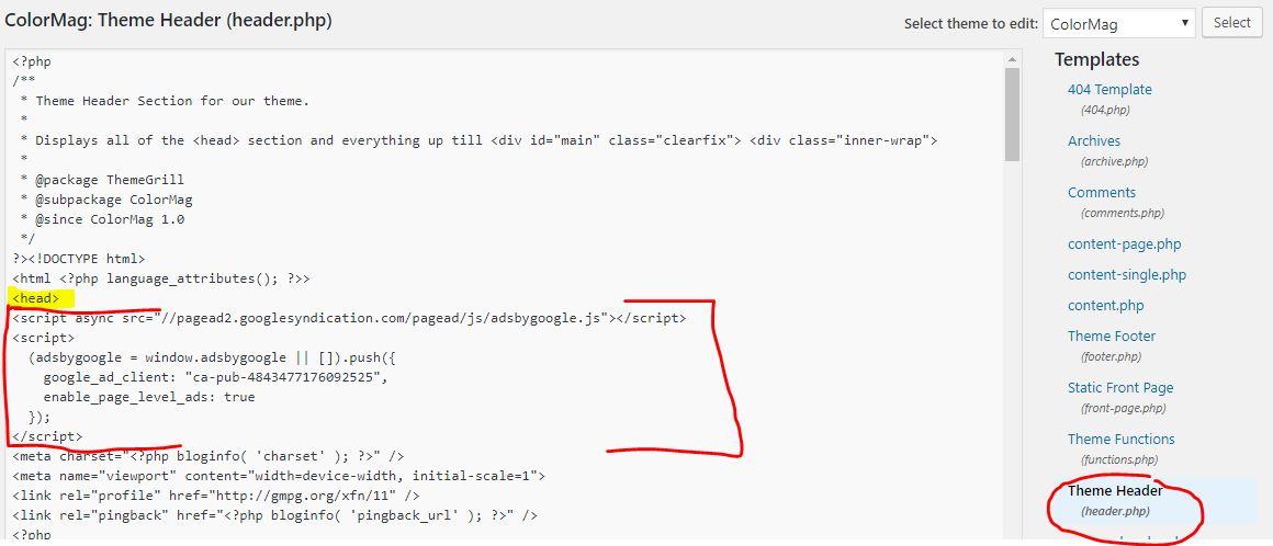 Placing Google Adsense Ad code into Your WordPress Website