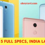Xiaomi Redmi 5 Full Specifications, price in India, release date