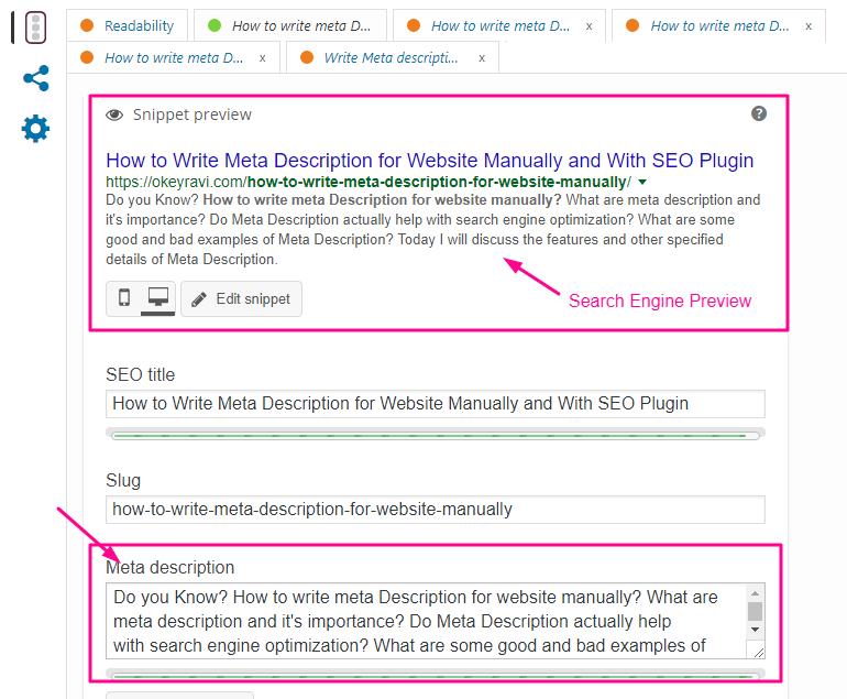 How to write meta Description for website manually