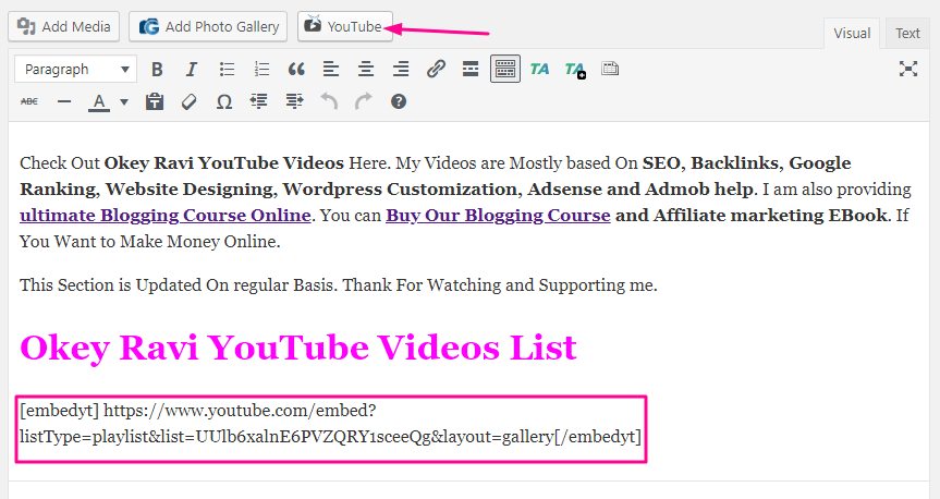 How to add latest YouTube Videos in WordPress Website