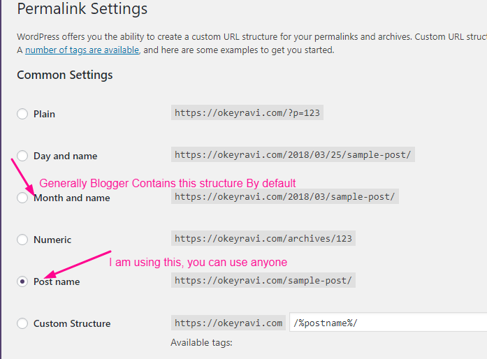 setting up permalinks while transferring Blogger to WordPress Migration