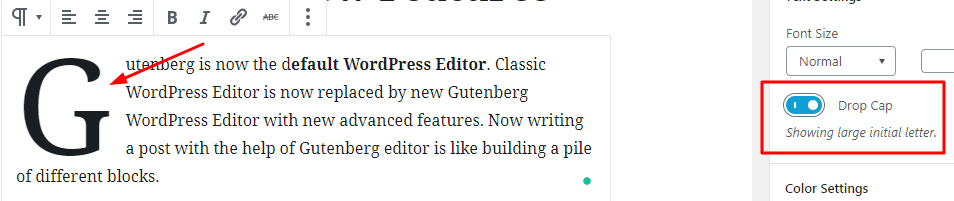 Adding a drop cap in WordPress Gutenberg Editor okey ravi