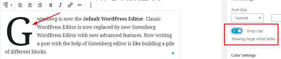 Adding a drop cap in WordPress Gutenberg Editor okey ravi