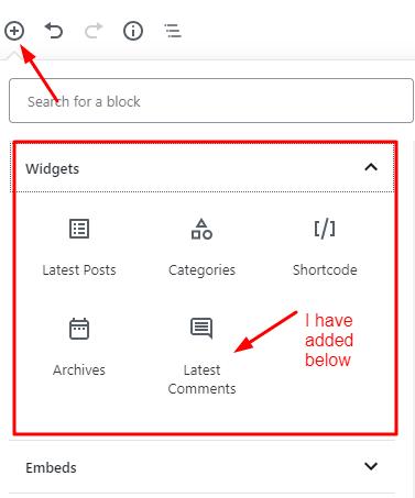 adding a widget using wordPress Gutenberg editor by Okey ravi