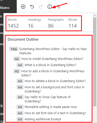 content structure and document outline in Gutenberg Editor by okay ravi