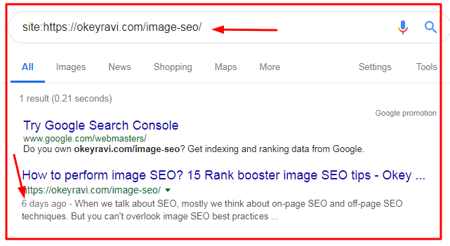Checking Index status in Google Search by okey ravi