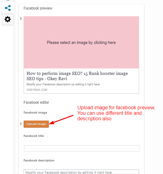 Facebook image upload using Yoast by okey ravi