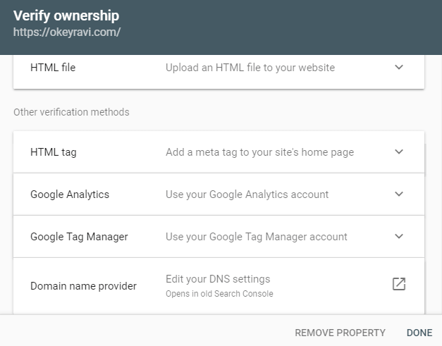 Verifying Domain ownership in Google Search Console