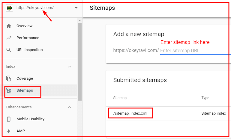 adding a sitemap in Google Search Console