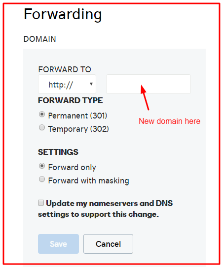 changing domain name using domain forwarding Godaddy okey Ravi