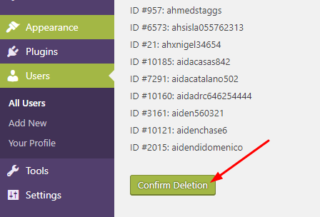 Confirm subscriber deletion in WordPress - Specific user deletion in bulk