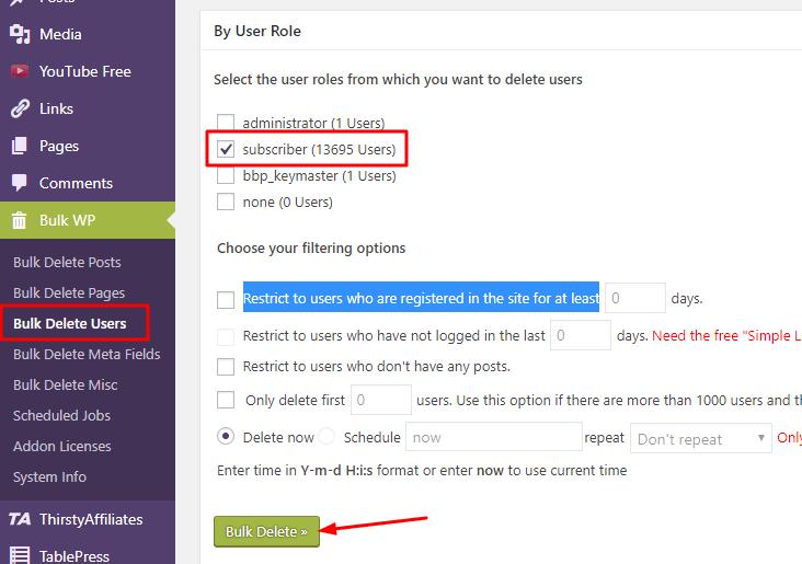 Deleting bulk no of subscriber using Bulk delete