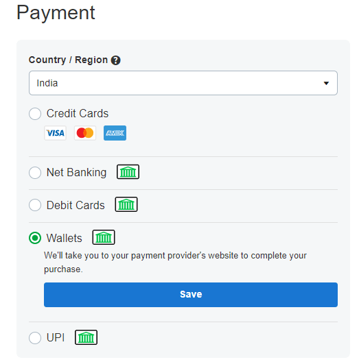 Payment options available on GoDaddy - Paytm, also available