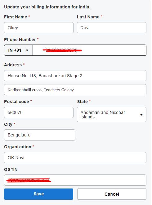 entering Billing Information on Godaddy