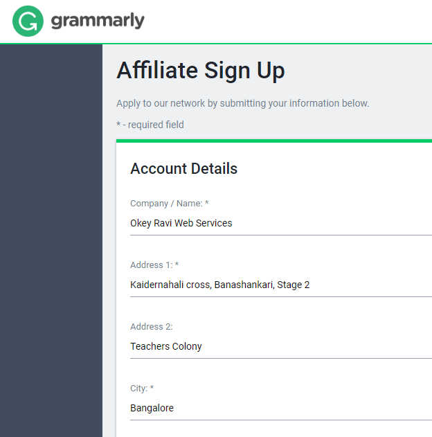 Grammarly Affiliate program signup via official link