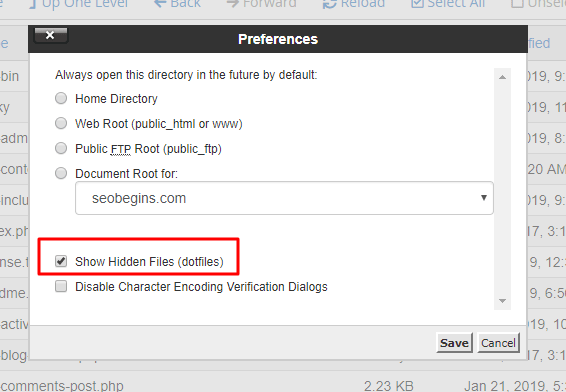 Enable hidden files option in Cpanel