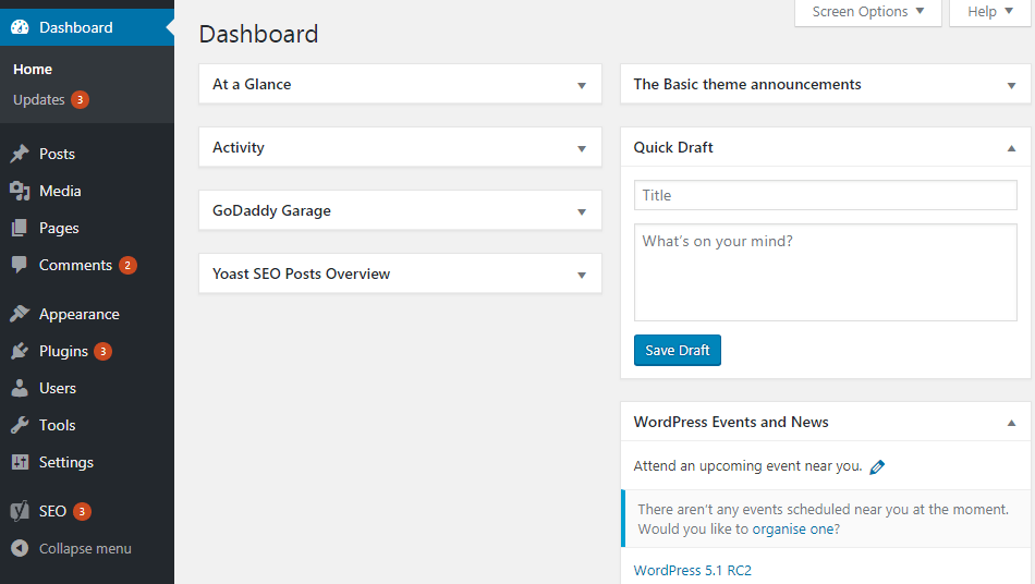 WordPress dashboard - first step to start a website