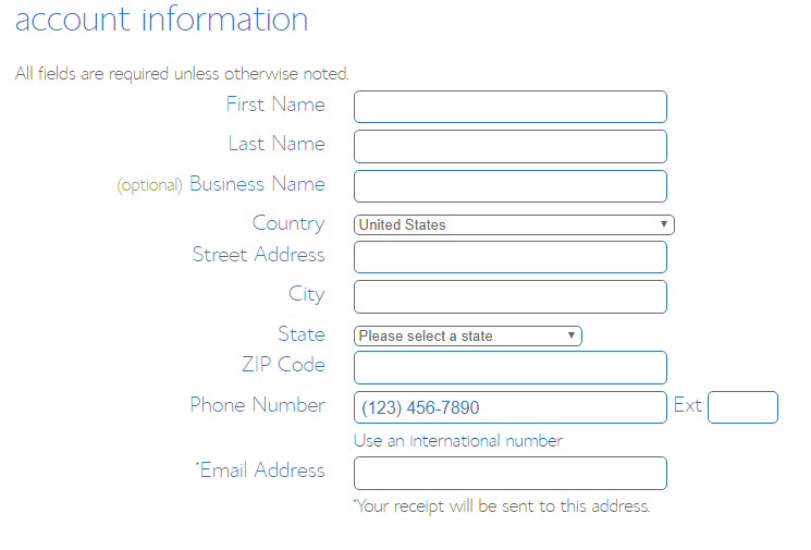 account information fill up on Bluehost