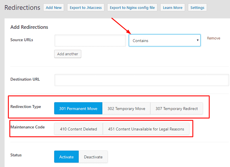 Adding redirection using rank math SEO Plugin