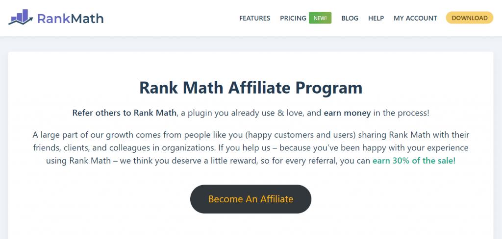 Rank Math Affiliate Program