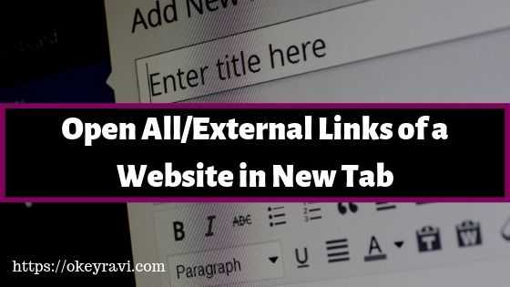 Open all Links of a website in new Tab or window