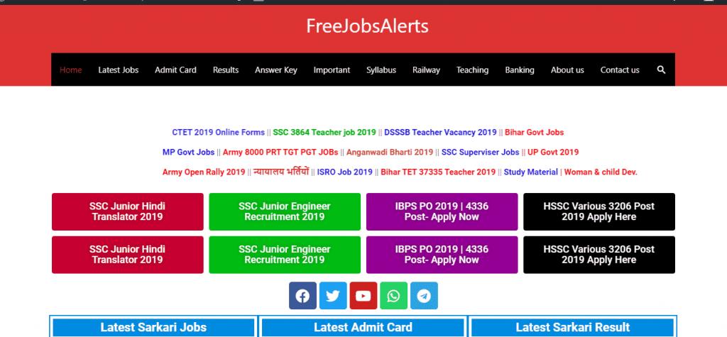 FreeJobalerts Sarkari result portal