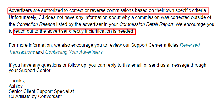 Ipage Affiliate program response from CJ Affiliate on Commissions