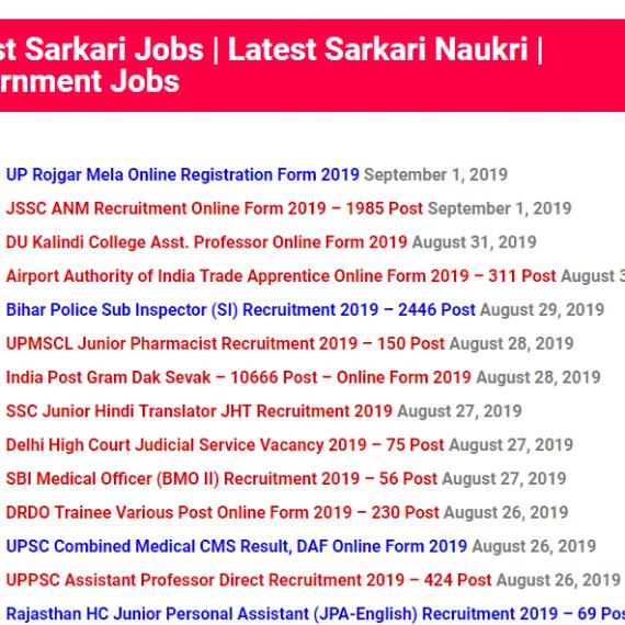 Latest Sarkari Naukri Page template