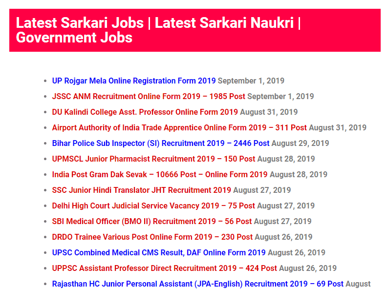 Latest Sarkari Naukri Page template