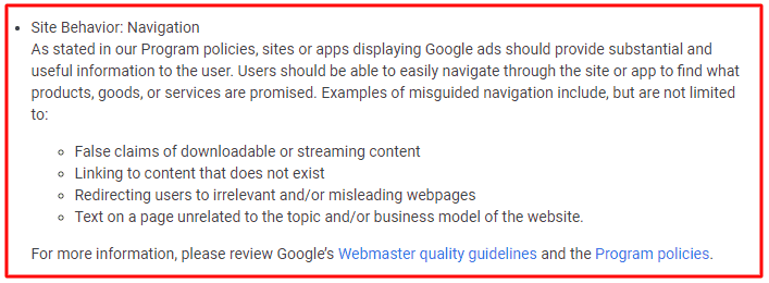 Fix Site behavior Navigation Adsense Policy Violation