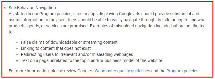 Fix Site behavior Navigation Adsense Policy Violation