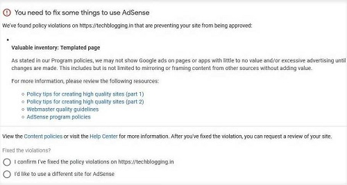 Valuable inventory templated page adsense violation fix