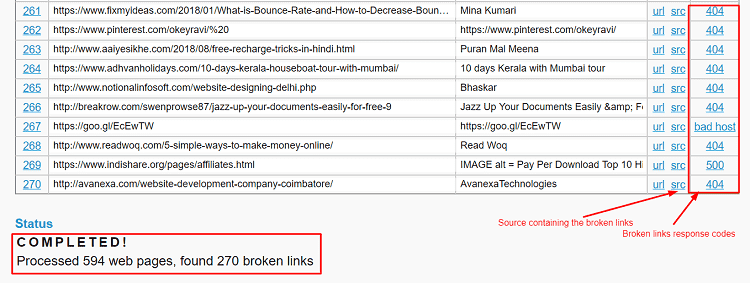 Find and Fix broken links online having different broken link status codes