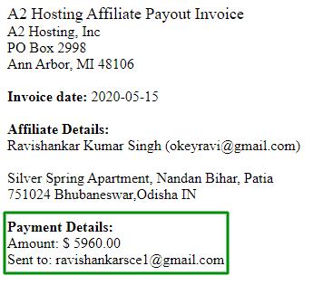 Affiliate Income From A2 Hosting Affiliate program