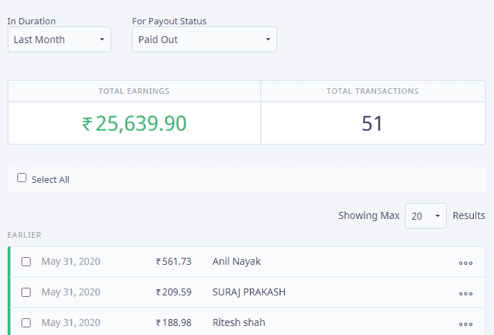 Earnings From Instamojo for product sellings