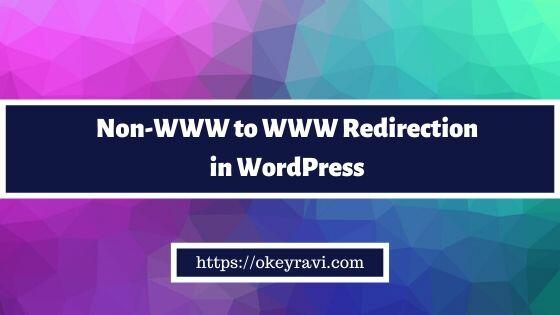 Non www to www redirection in WordPress