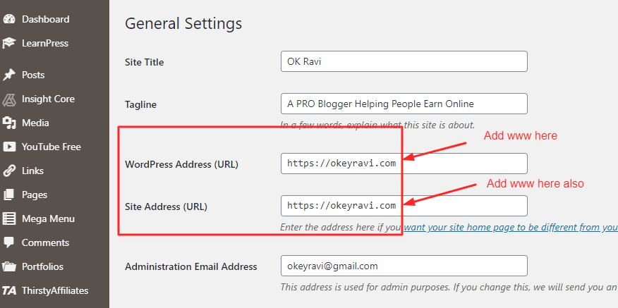 non www to www redirection using WordPress general Settings