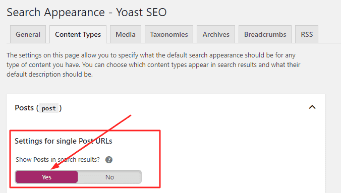 Enabling Indexing Form Yoast SEO