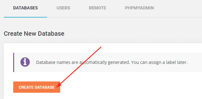 Create a new database in Siteground