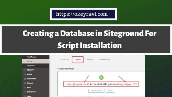 Creating a Database in Siteground For Script Installation