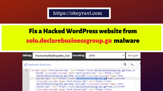 Fix a Hacked WordPress website from solo-declarebusinessgroup-ga malware