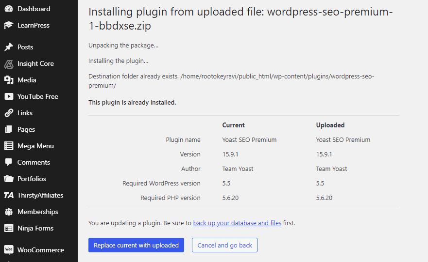 Replacing a plugin through plugin section